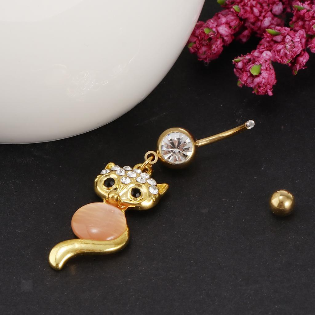 Stainless-Steel-Dangle-Navel-Belly-Bar-Button-Ring-Body-Jewelry-Piercing thumbnail 12