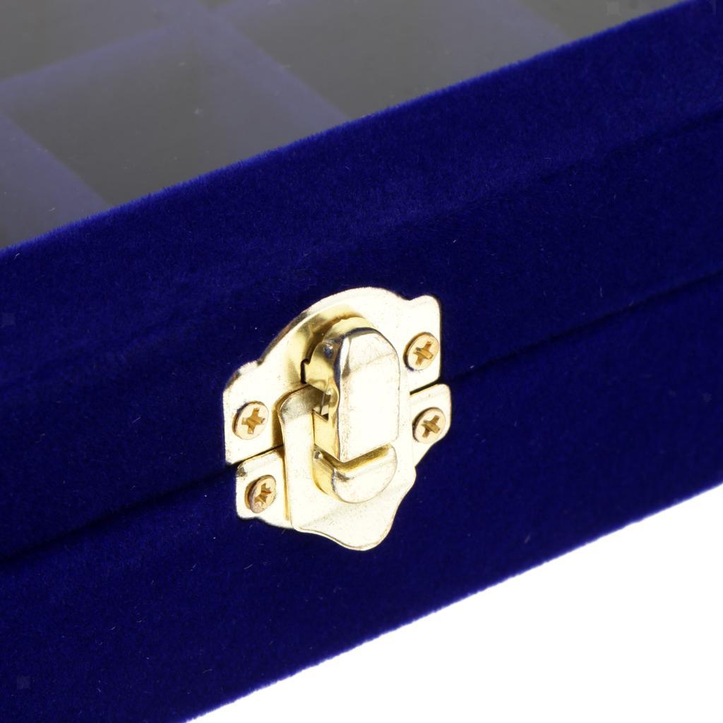 Cufflinks-Earrings-Ring-Display-Showcase-Top-Glass-Lid-Jewelry-Organizer thumbnail 11