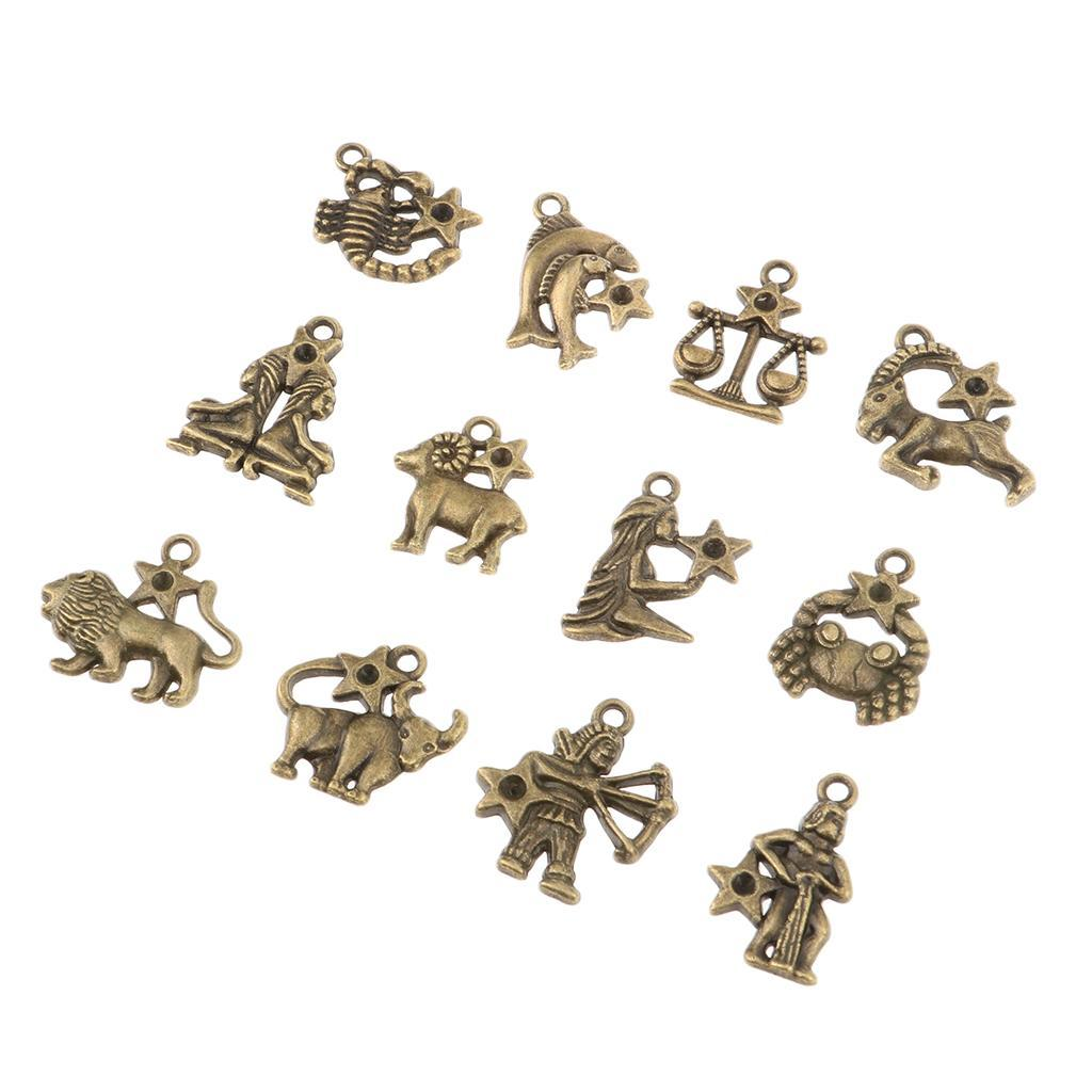 Jewelry-Making-Charms-12-Pieces-Zodiac-Pendants-DIY-for-Necklace-Bracelet miniature 3
