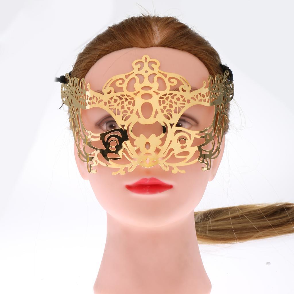 Venetian-Gold-Filigree-Eye-Mask-Masquerade-Ball-Fancy-Dress-for-Man-Women miniature 13