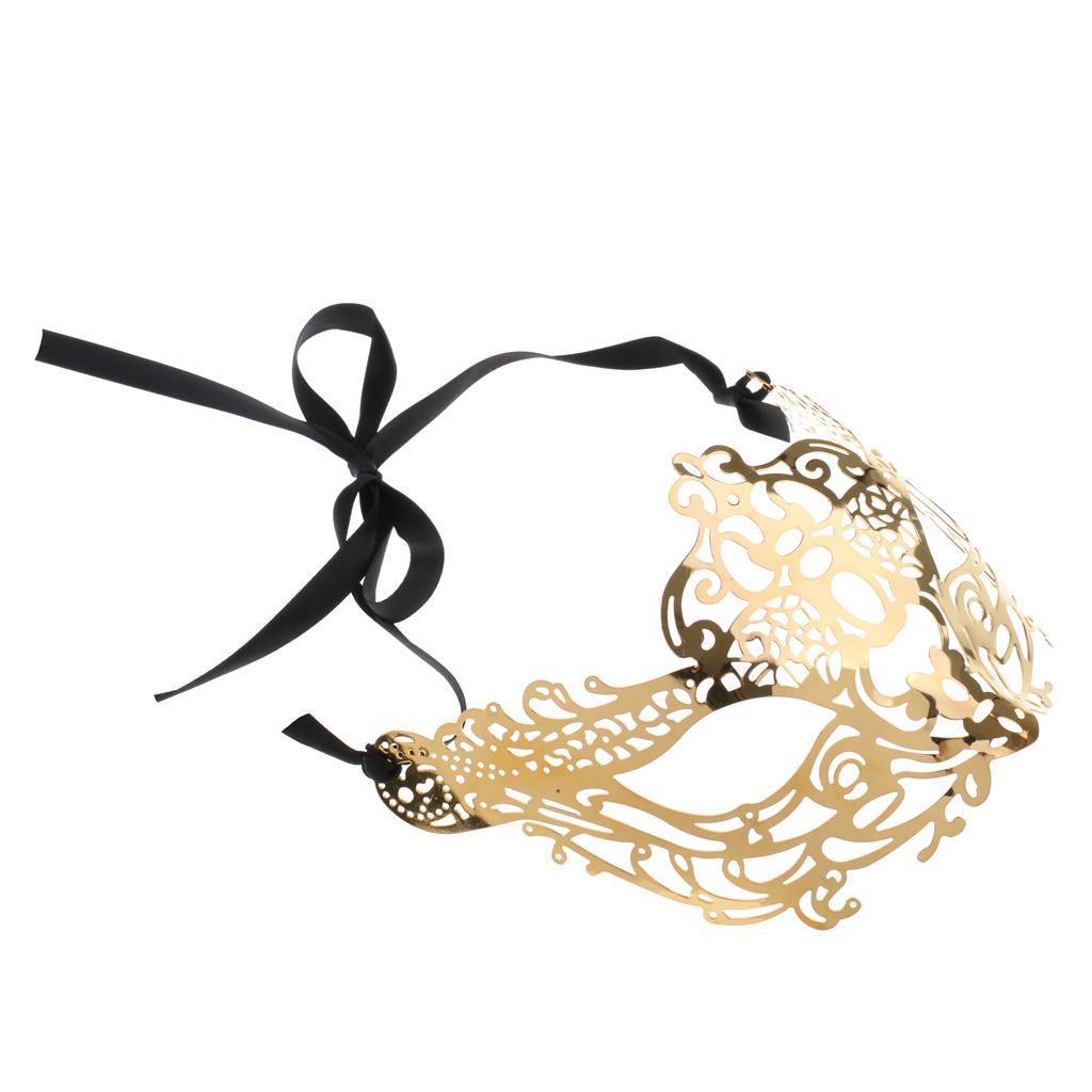 Venetian-Gold-Filigree-Eye-Mask-Masquerade-Ball-Fancy-Dress-for-Man-Women miniature 19