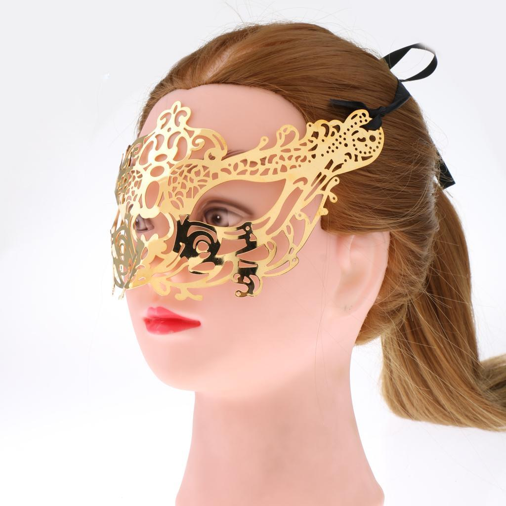 Venetian-Gold-Filigree-Eye-Mask-Masquerade-Ball-Fancy-Dress-for-Man-Women miniature 14