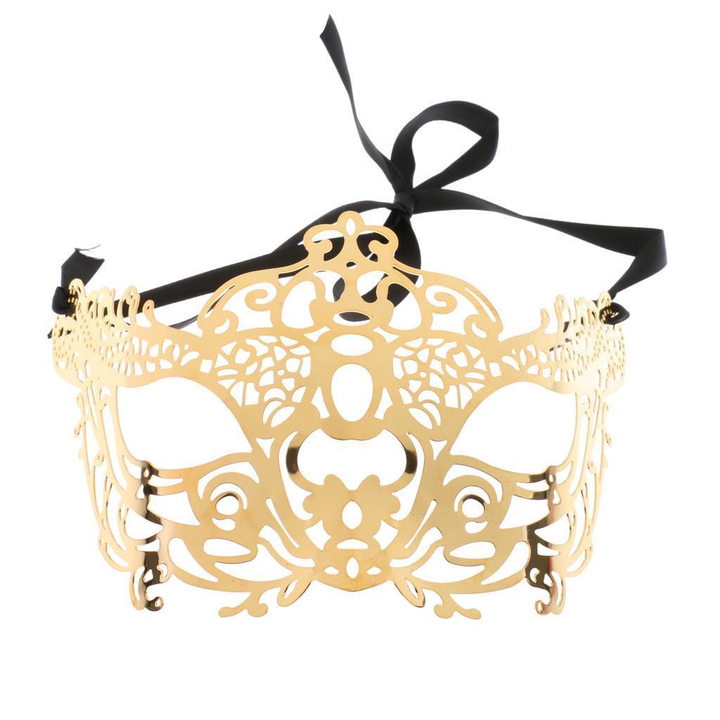 Venetian-Gold-Filigree-Eye-Mask-Masquerade-Ball-Fancy-Dress-for-Man-Women miniature 12