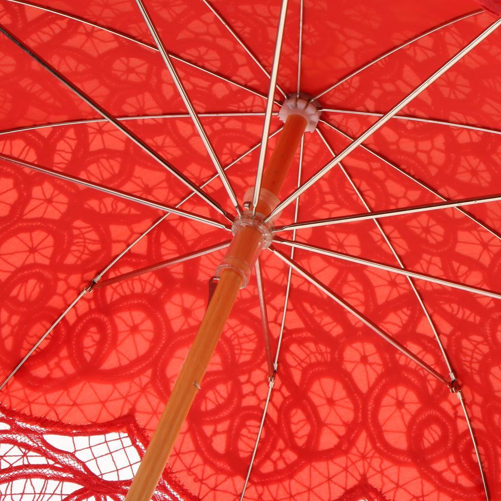 miniatura 9 - Ombrelli Classici Di Nozze Parasole Ombrello Di Ricamo Fiore Del Pizzo
