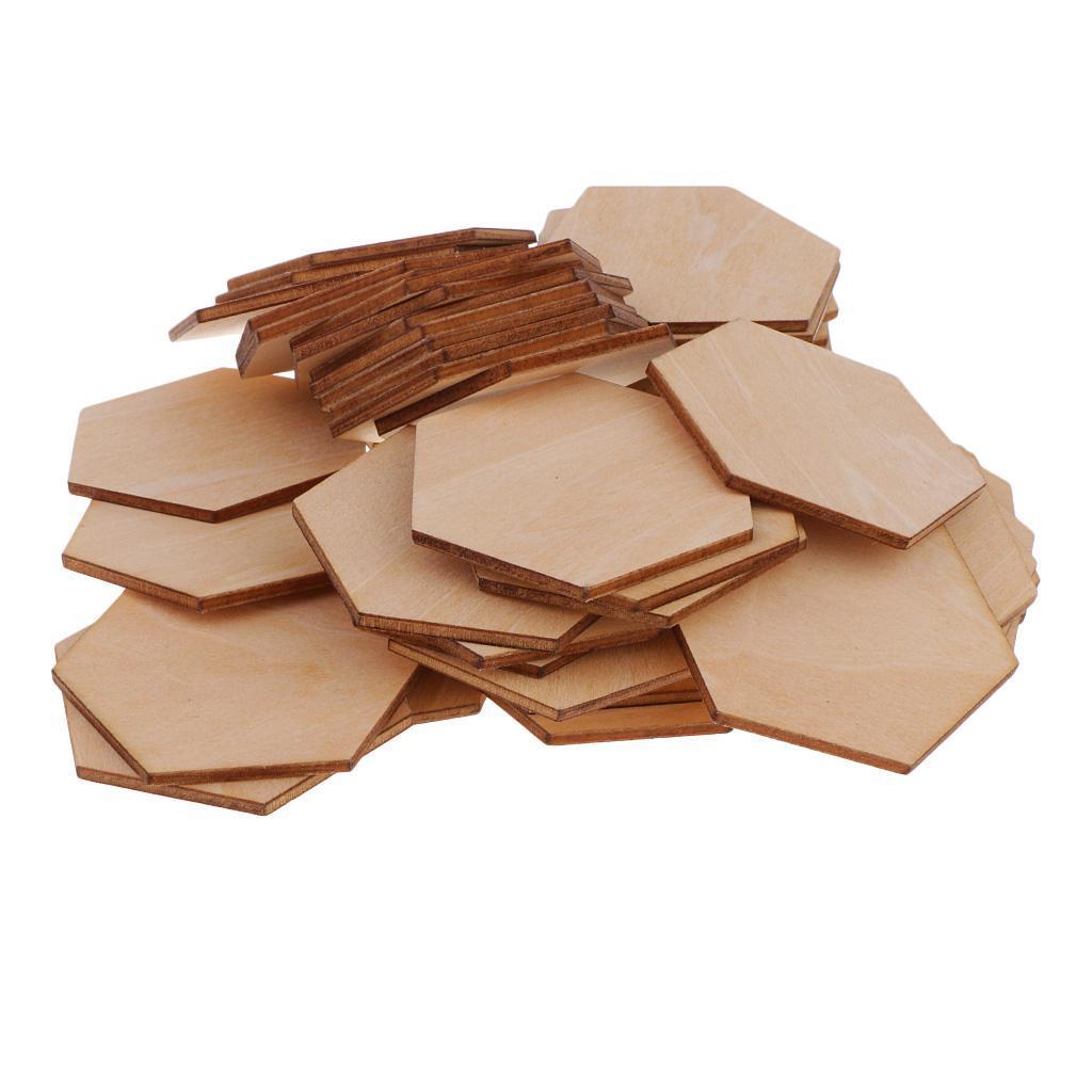 Indexbild 7 - 50-100-200-Stueck-Charming-Hexagon-Shaped-MDF-Holz-Schnitt-Holz