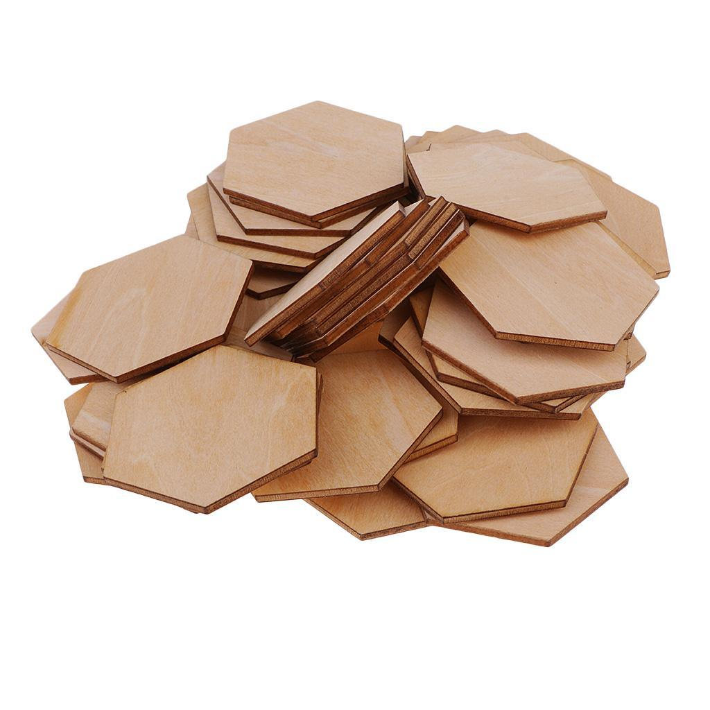 Indexbild 6 - 50-100-200-Stueck-Charming-Hexagon-Shaped-MDF-Holz-Schnitt-Holz