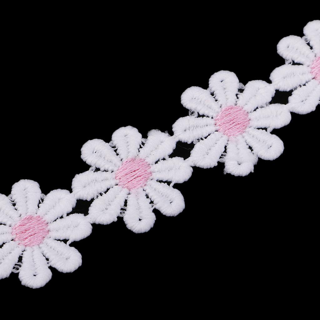 2m -Blue Daisy Flower Motif Satin Lace Ribbon Applique Trimmings,Wedding