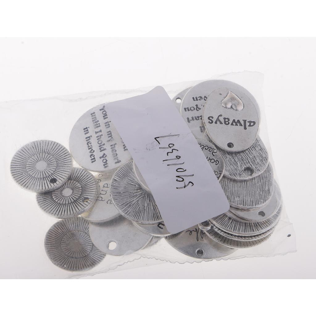 34Pcs Assorted Silver Inspiration Words Charms Crafts Tags Mixed Pendants Christmas Decors