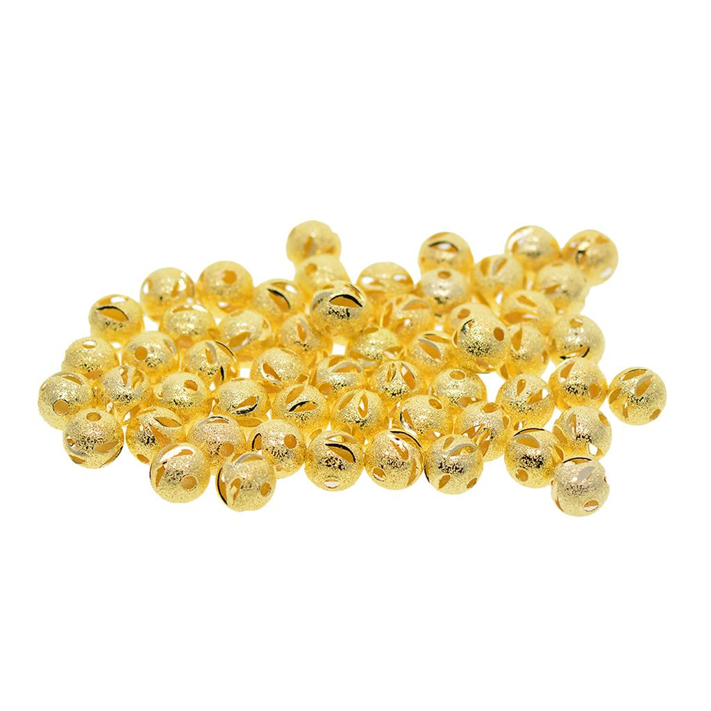 50x 8mm Hollow Filigree Solid Brass Round Spacer Loose Beads Jewelry Finding