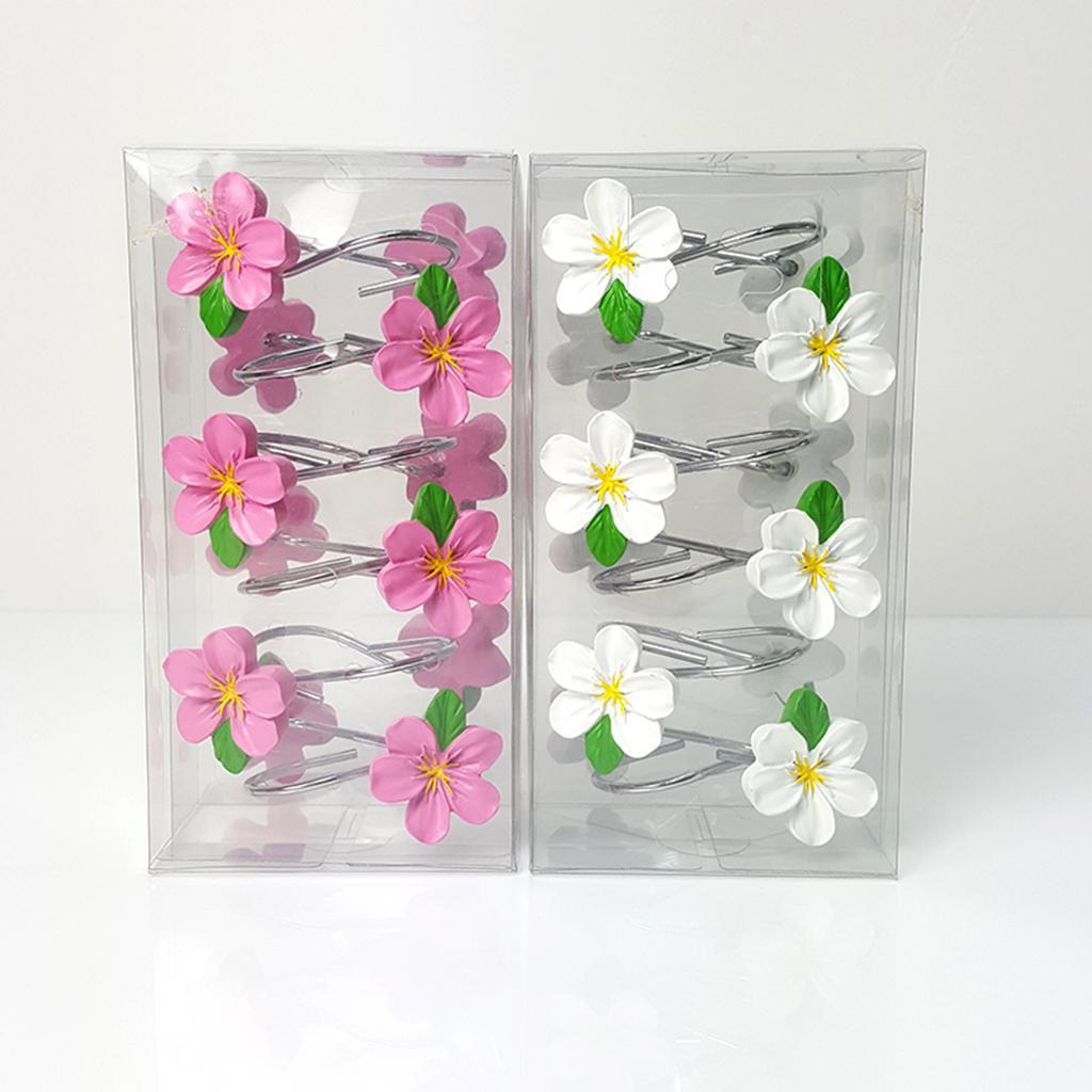 12-Pezzi-di-Ganci-Decorativi-Resina-Fiore-Doccia-Tenda-Gancio-Hook-Supporto miniatura 6