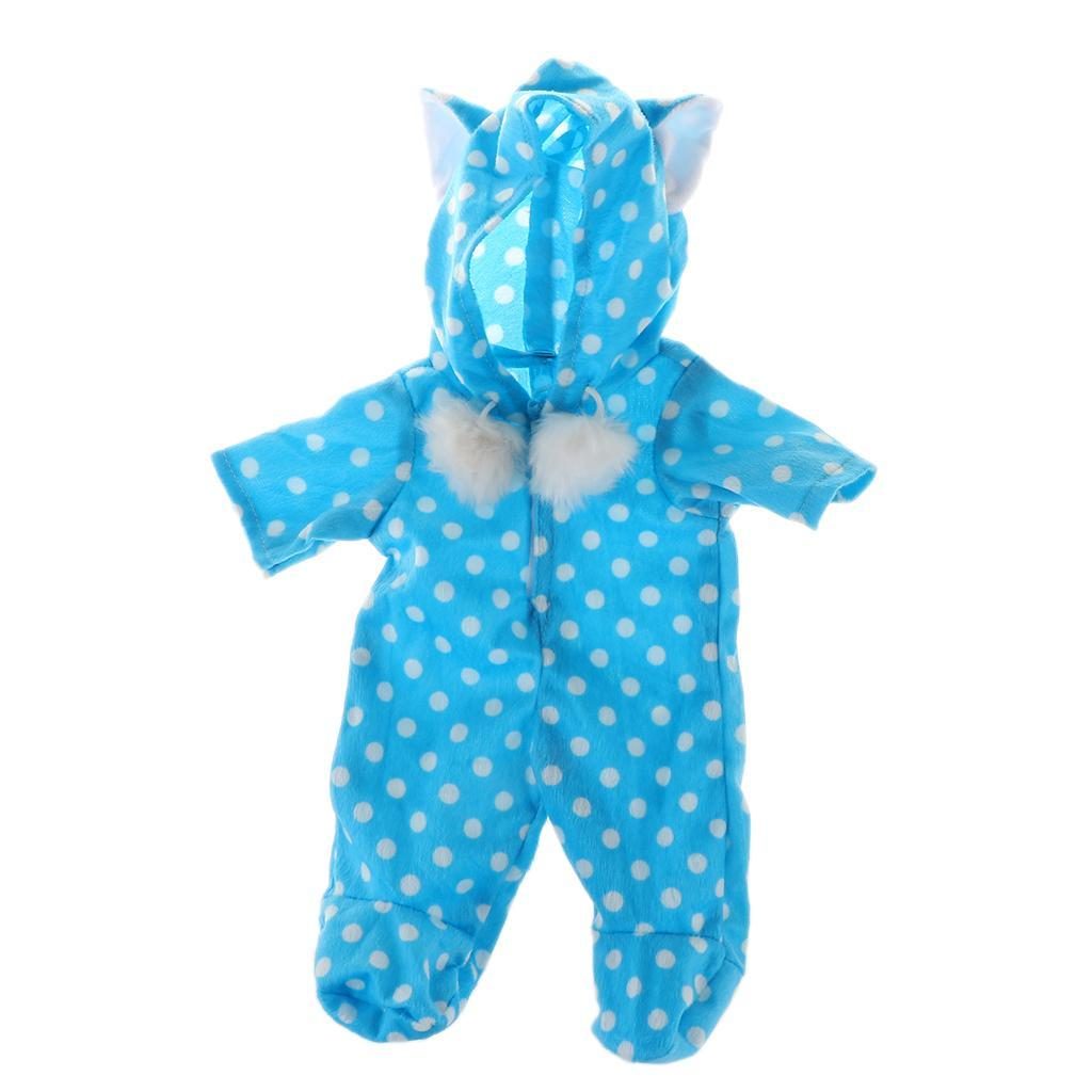 Adorable-Cat-Ears-Rompers-Pajamas-Clothes-for-18inch-American-Doll-My-Life-Dolls miniature 12