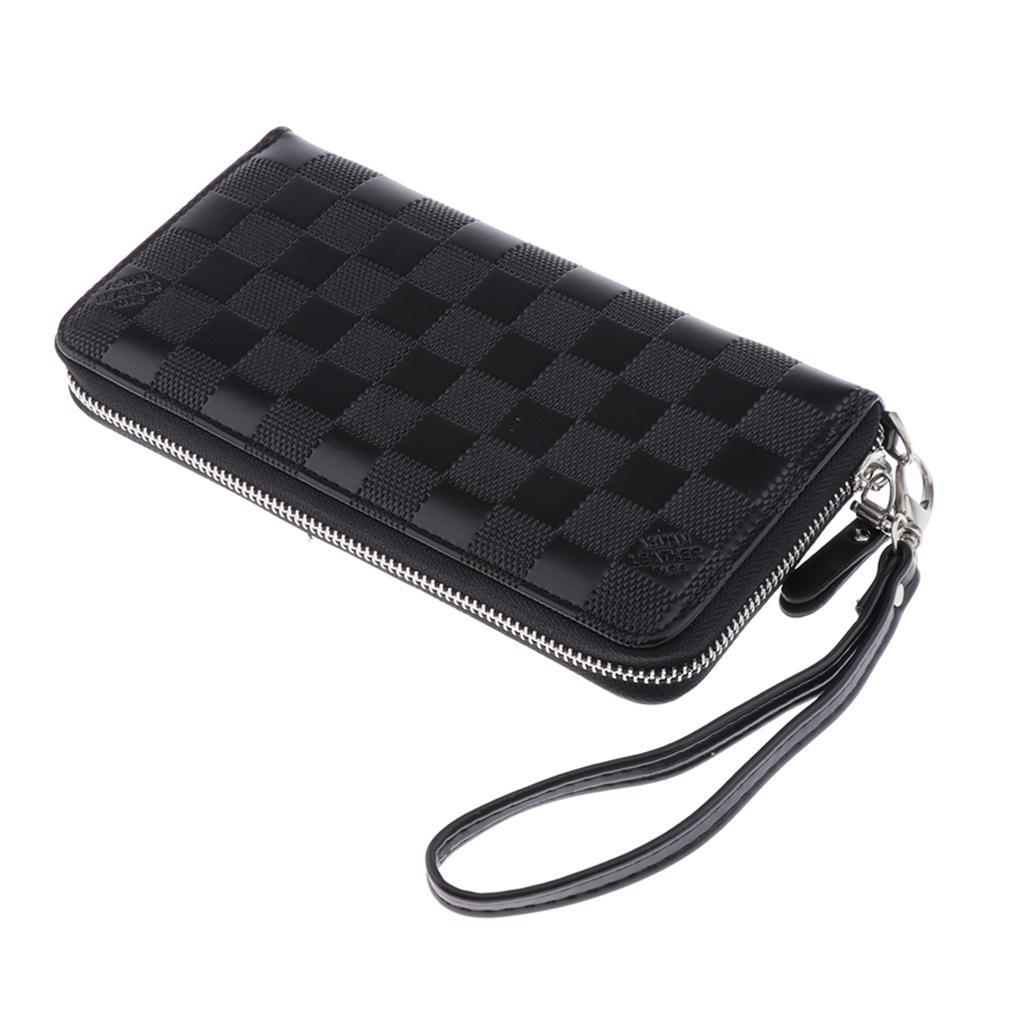 Mens Clutch Wallet Zipper Around Purse Fashion Long Handbag Pu Leather Bag