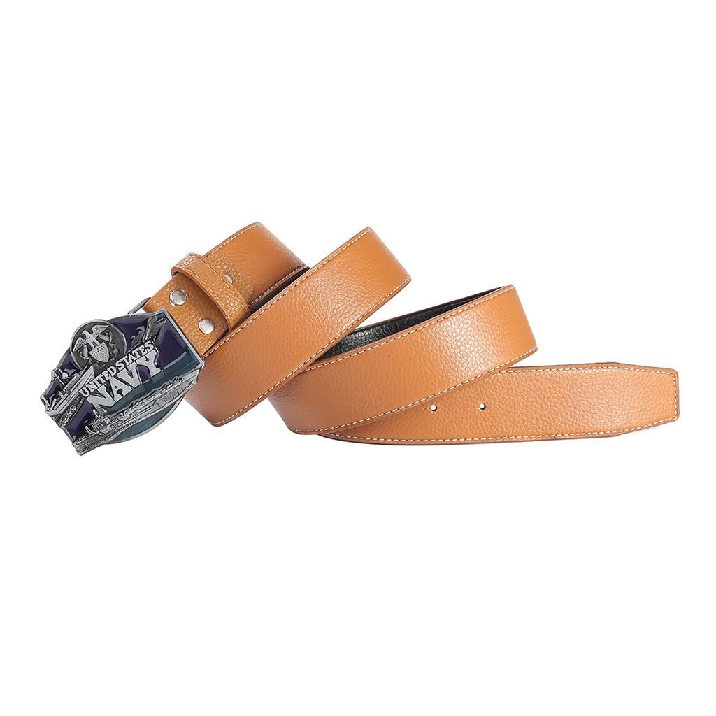 Men-039-s-Leather-Belt-Metal-Buckle-Navy-Pattern-Western-Cowboy-Style-Belt-Strap thumbnail 6