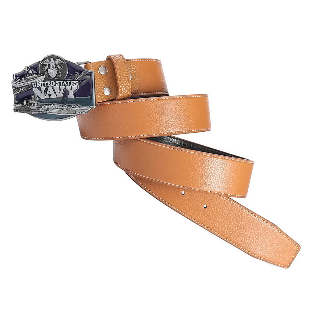 Men-039-s-Leather-Belt-Metal-Buckle-Navy-Pattern-Western-Cowboy-Style-Belt-Strap thumbnail 7