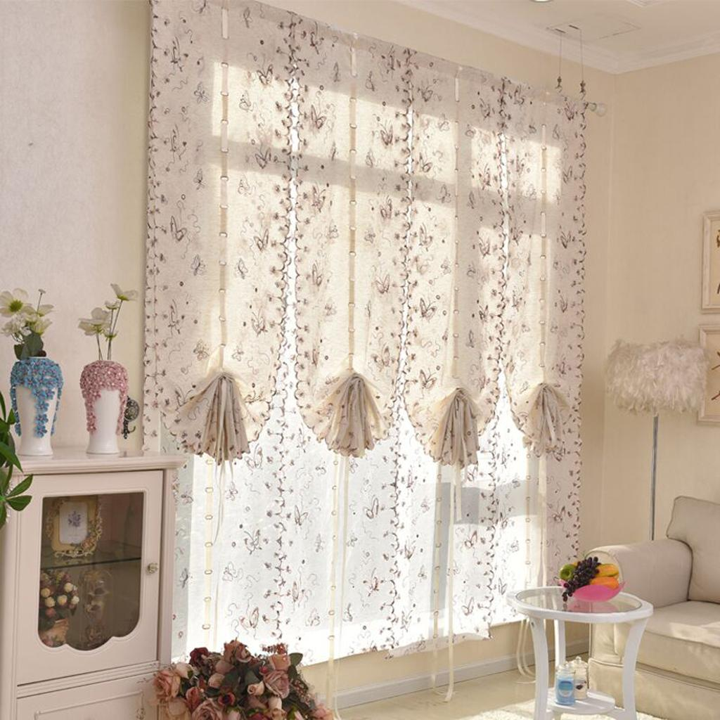 Tie Up Sheer Curtains Embroidery Kitchen Cafe Voile Drape Glass Door Curtain Ebay