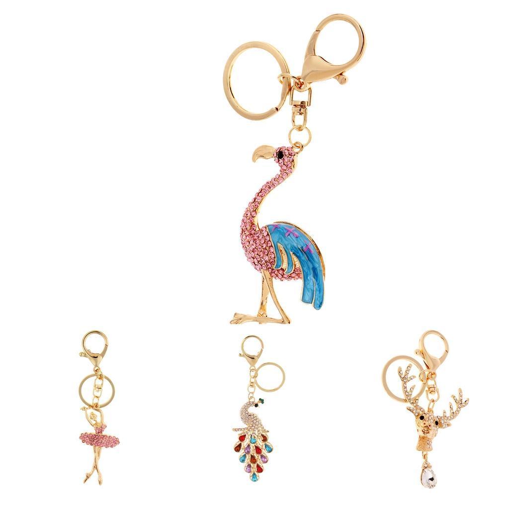 Alloy-Fashion-Flamingo-Rhinestone-Keyring-Bag-Hanging-Decor-Women-Keychain thumbnail 25