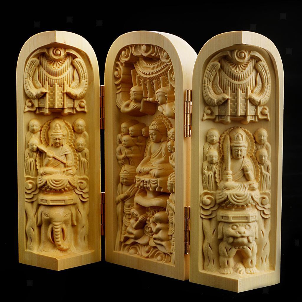 thumbnail 9 - Buddha Statue Carved Locker Box Sculpture Decoration Made of Boxwood