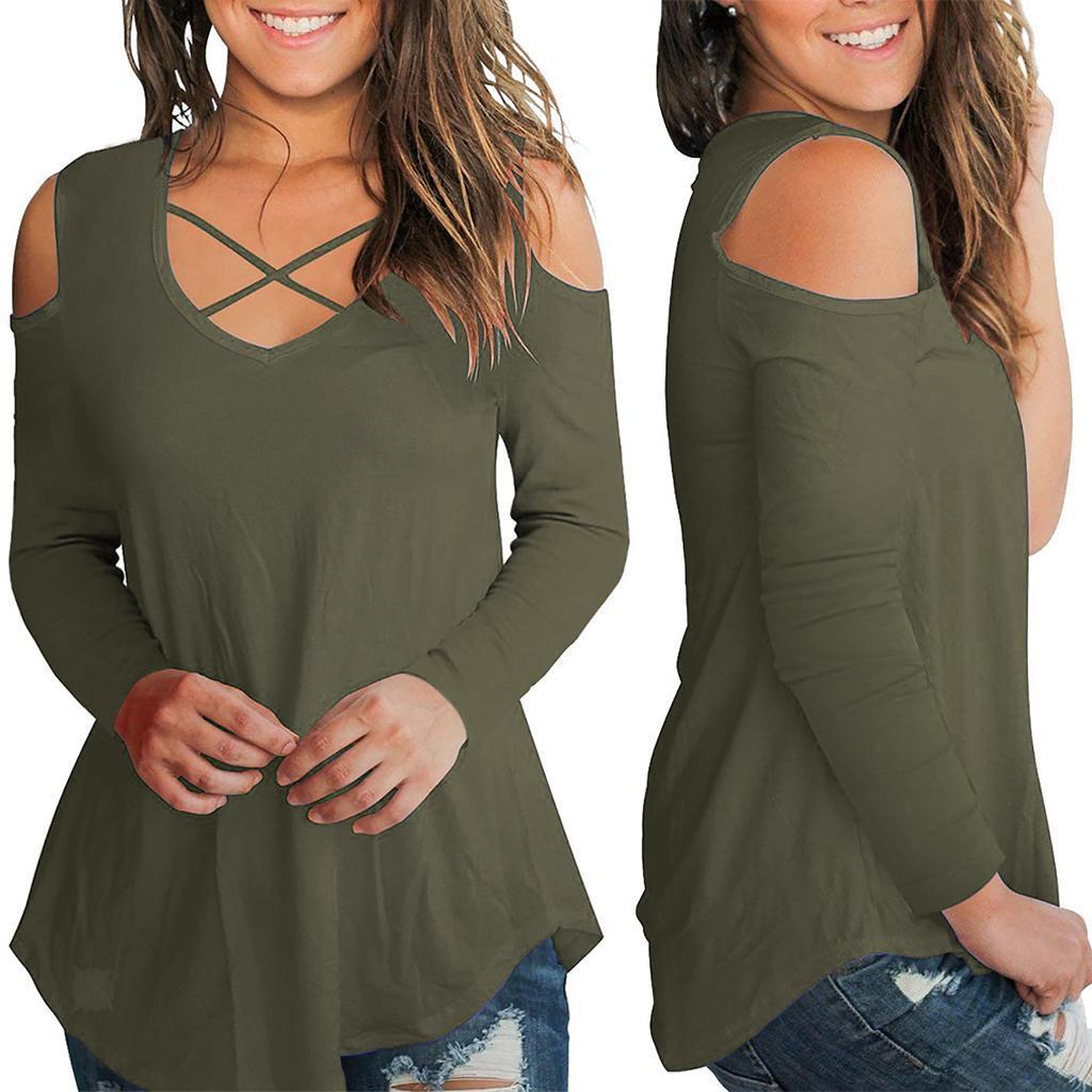 Women's Cold Shoulder Long Sleeve Solid Criss Cross Front