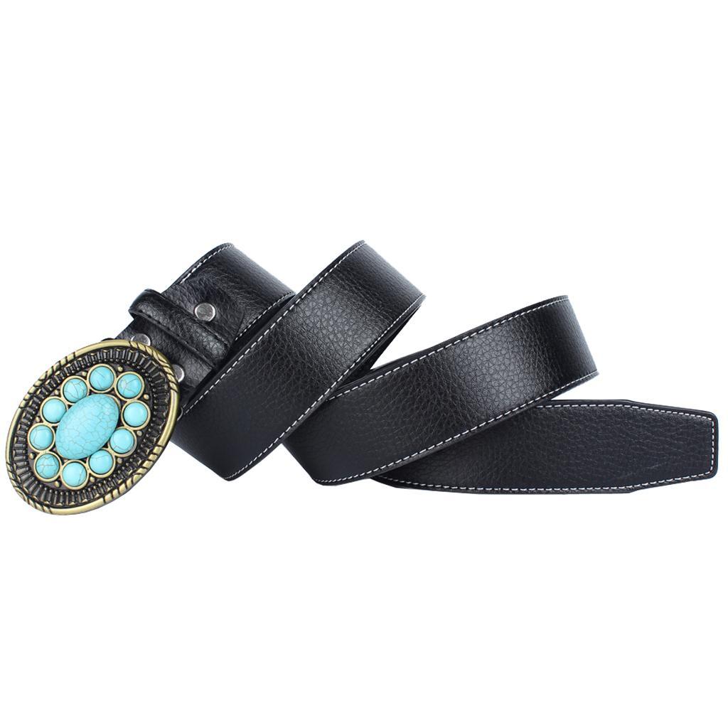 Western Genuine Turquoise Noir//Marron Ceinture en cuir 610 T