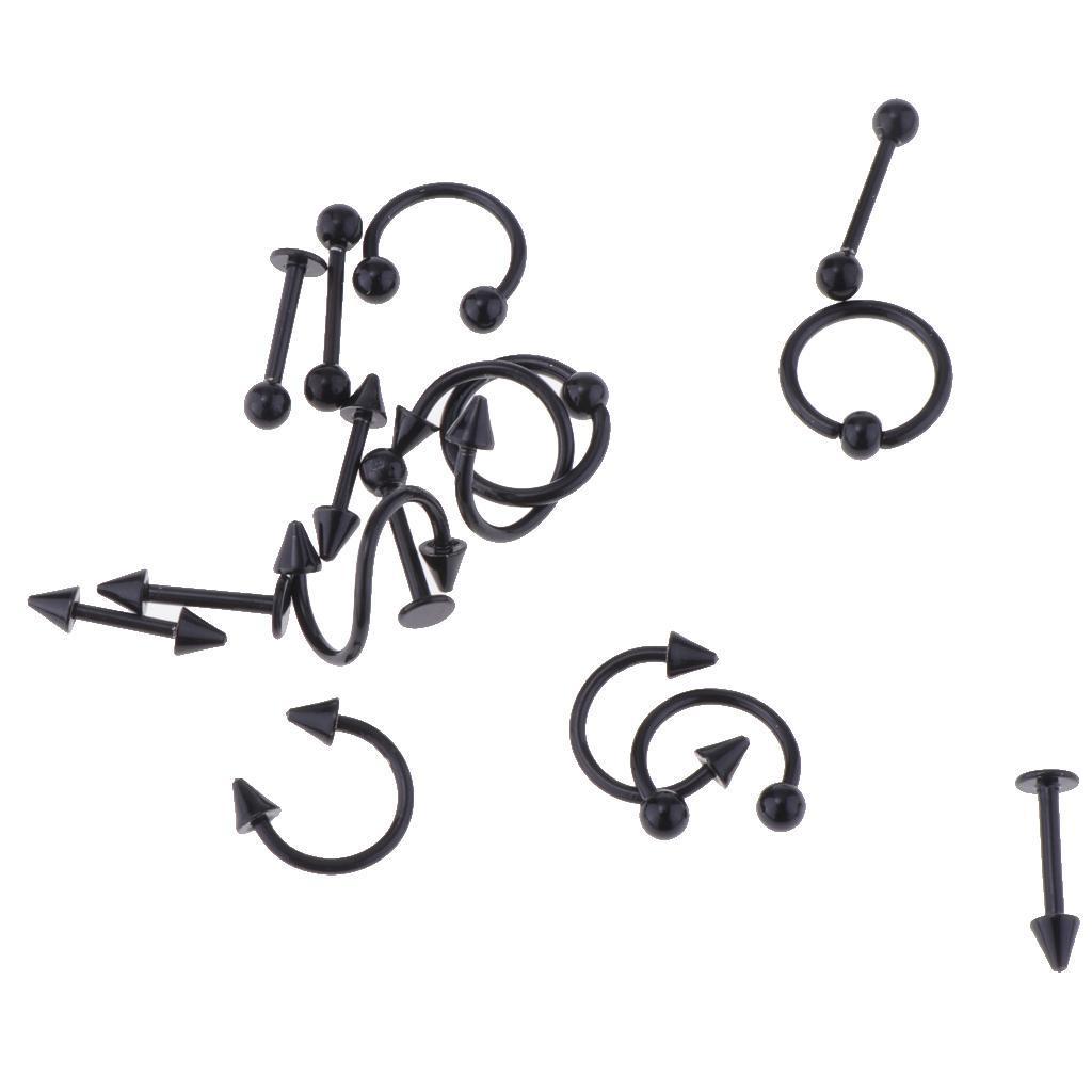 16-Pezzi-Anelli-In-Acciaio-Inossidabile-16g-Assortiti-Gioielli-Per miniatura 19