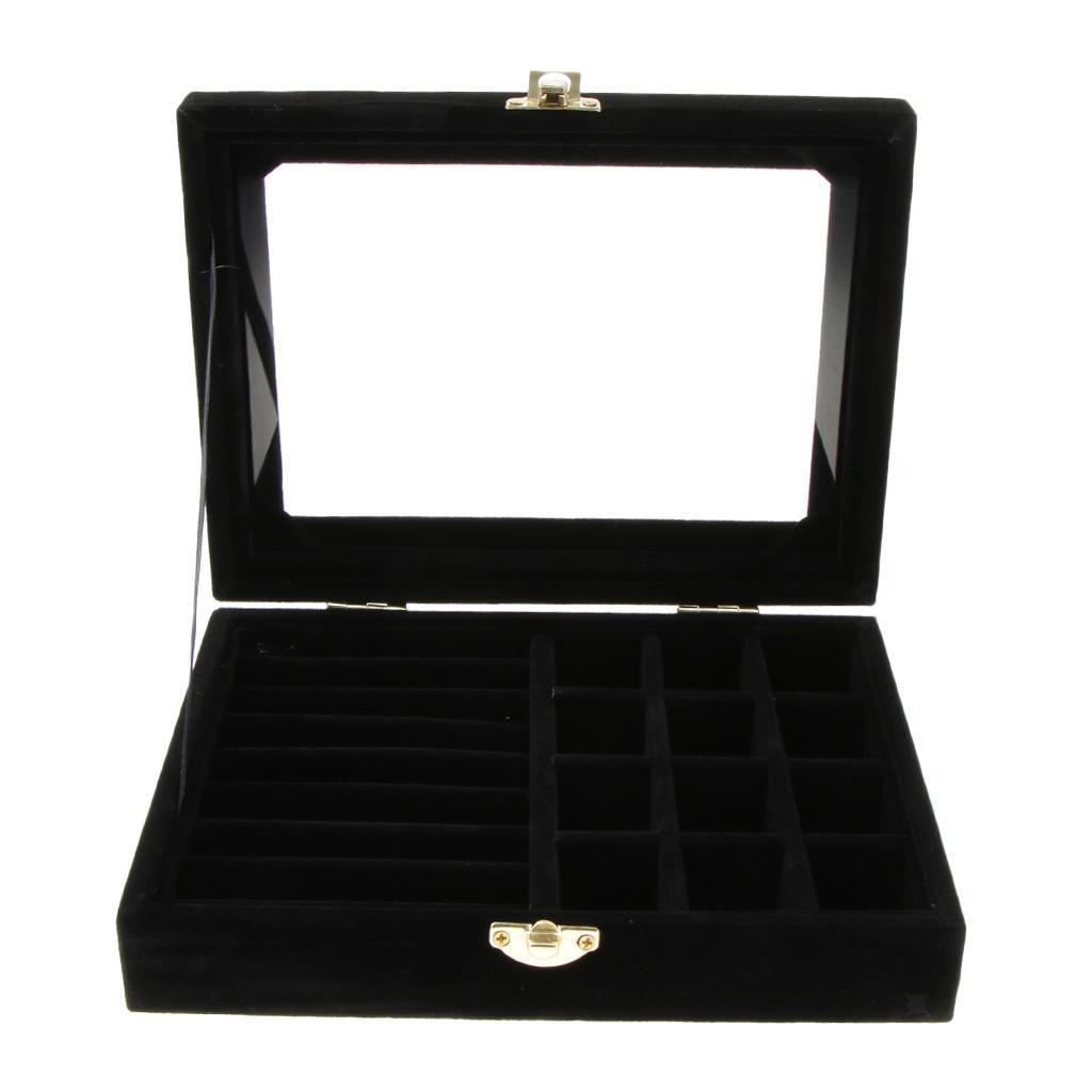 Cufflinks-Earrings-Ring-Display-Showcase-Top-Glass-Lid-Jewelry-Organizer thumbnail 17