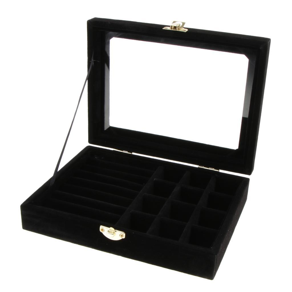 Cufflinks-Earrings-Ring-Display-Showcase-Top-Glass-Lid-Jewelry-Organizer thumbnail 15