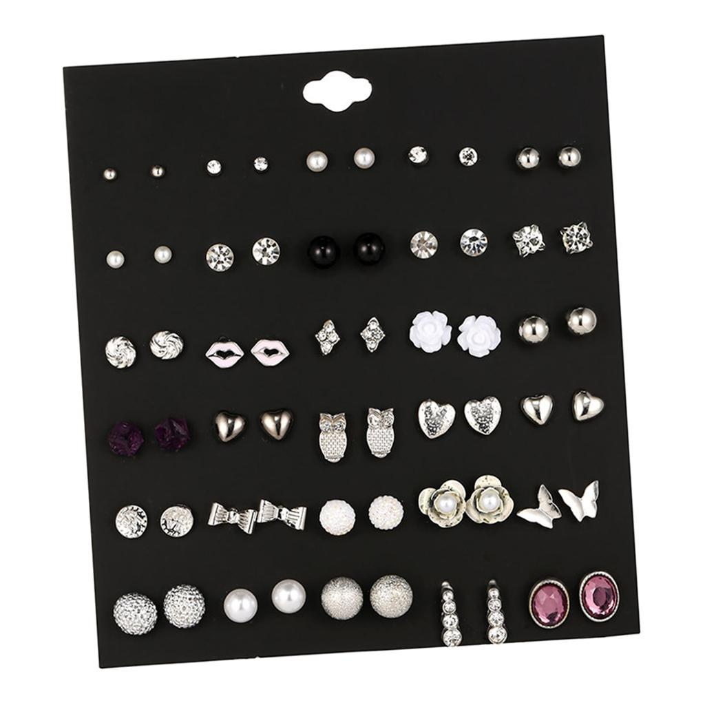 30Pair-Set-Hypoallergenic-Geometric-Crystal-Earrings-Piercing-Stud-Earrings miniature 36