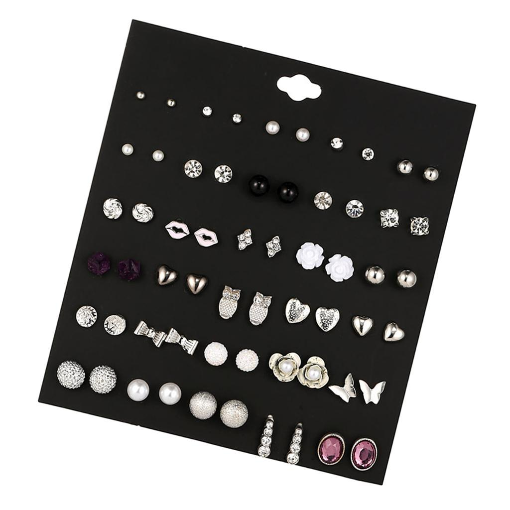 30Pair-Set-Hypoallergenic-Geometric-Crystal-Earrings-Piercing-Stud-Earrings miniature 38