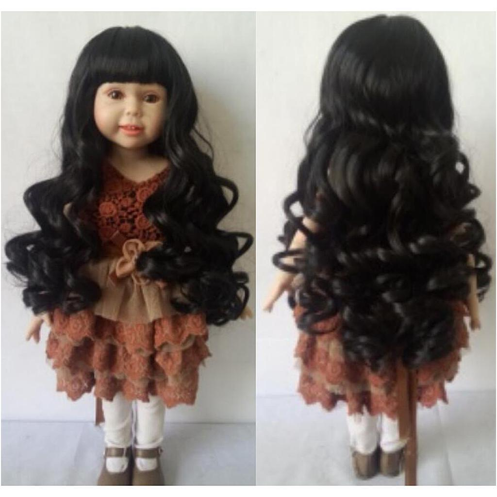 Straight-Gradient-Curly-Hair-Wig-for-18-039-039-Doll-Dress-up-Accessory thumbnail 56