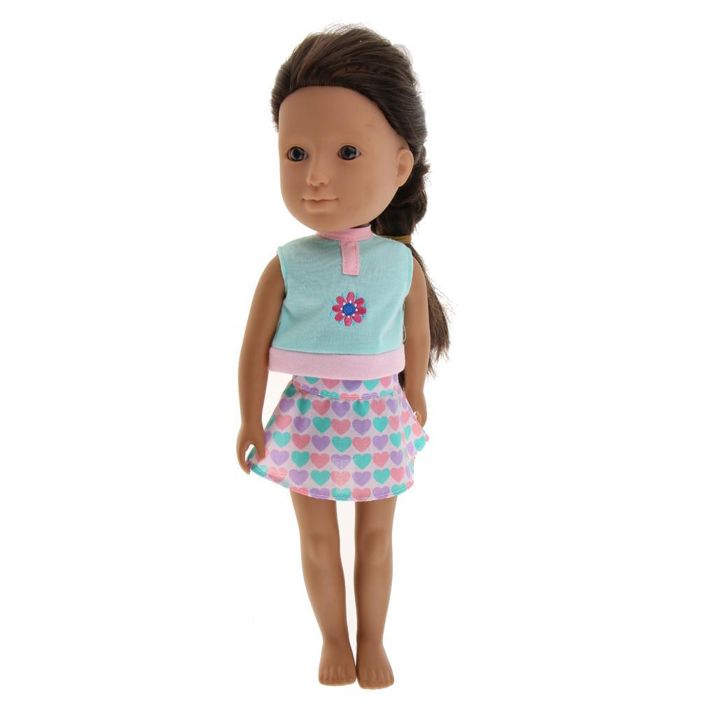 For-14-inch-Wellie-Wishers-American-Doll-Dolls-Clothing-T-shirt-Miniskirt-Romper thumbnail 9