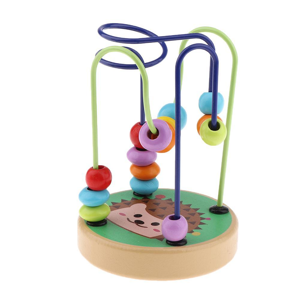 thumbnail 14 - Wooden Colorful Roller Coaster Educational Circle Bead Maze Toy for Toddlers