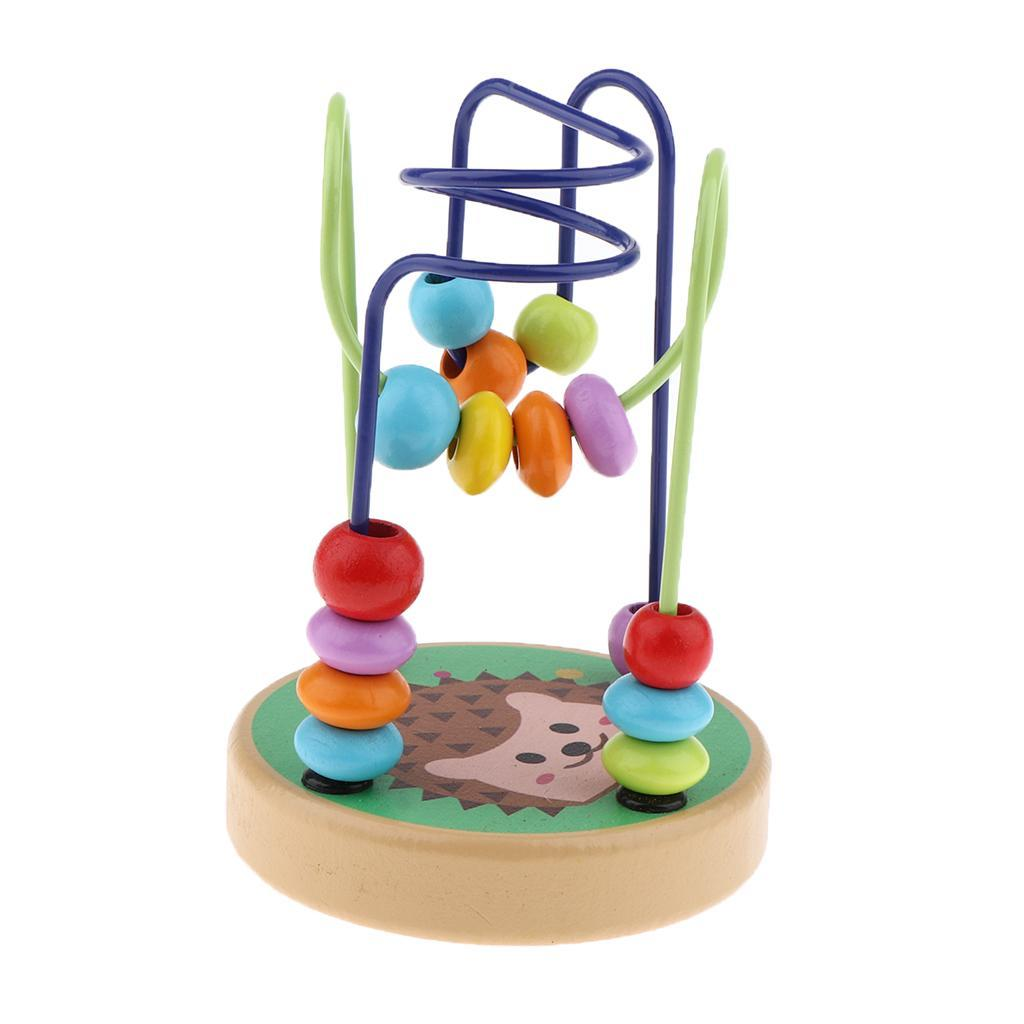 thumbnail 15 - Wooden Colorful Roller Coaster Educational Circle Bead Maze Toy for Toddlers