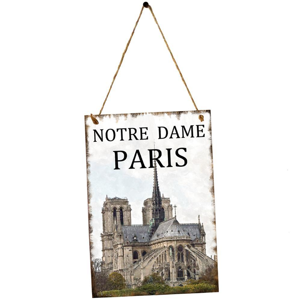 Notre Dame Home Decor: Wooden Board DIY Wall Hanging Plaque For Home Decor Notre