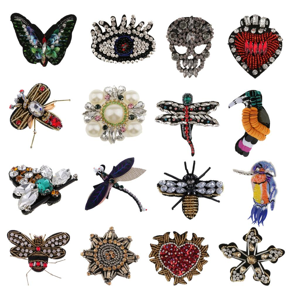 Embroidery Crystal Sew On Iron On Patch Badge Transfer Bag Clothes Applique