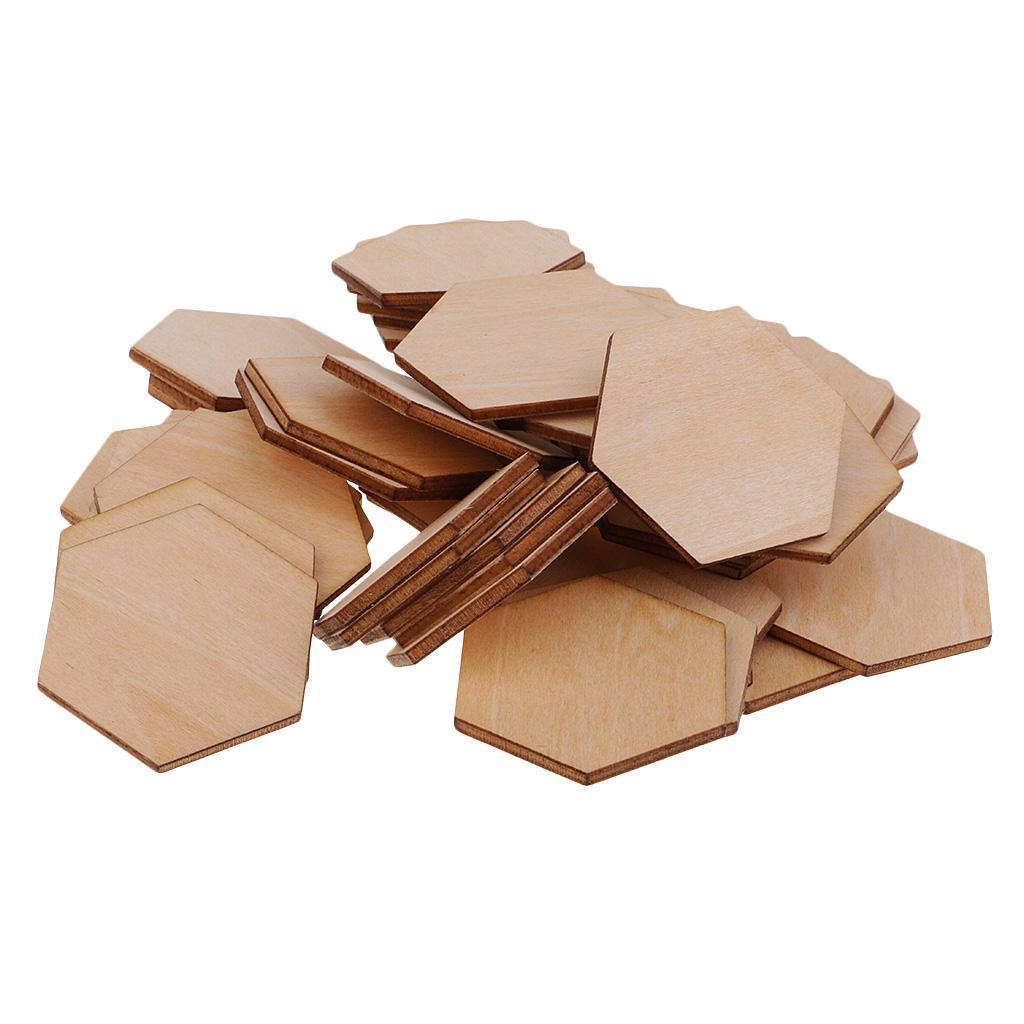 Indexbild 9 - 50-100-200-Stueck-Charming-Hexagon-Shaped-MDF-Holz-Schnitt-Holz