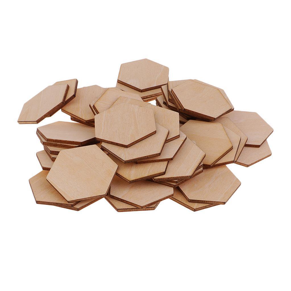 Indexbild 10 - 50-100-200-Stueck-Charming-Hexagon-Shaped-MDF-Holz-Schnitt-Holz