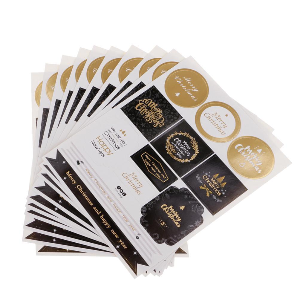 12pcs-adesivo-autoadesivo-che-timbra-oro-Patches-Applique-Natale miniatura 20