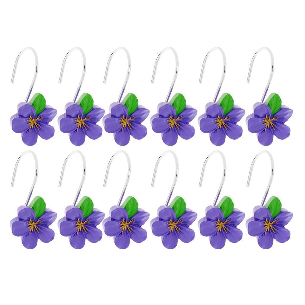 12-Pezzi-di-Ganci-Decorativi-Resina-Fiore-Doccia-Tenda-Gancio-Hook-Supporto miniatura 10
