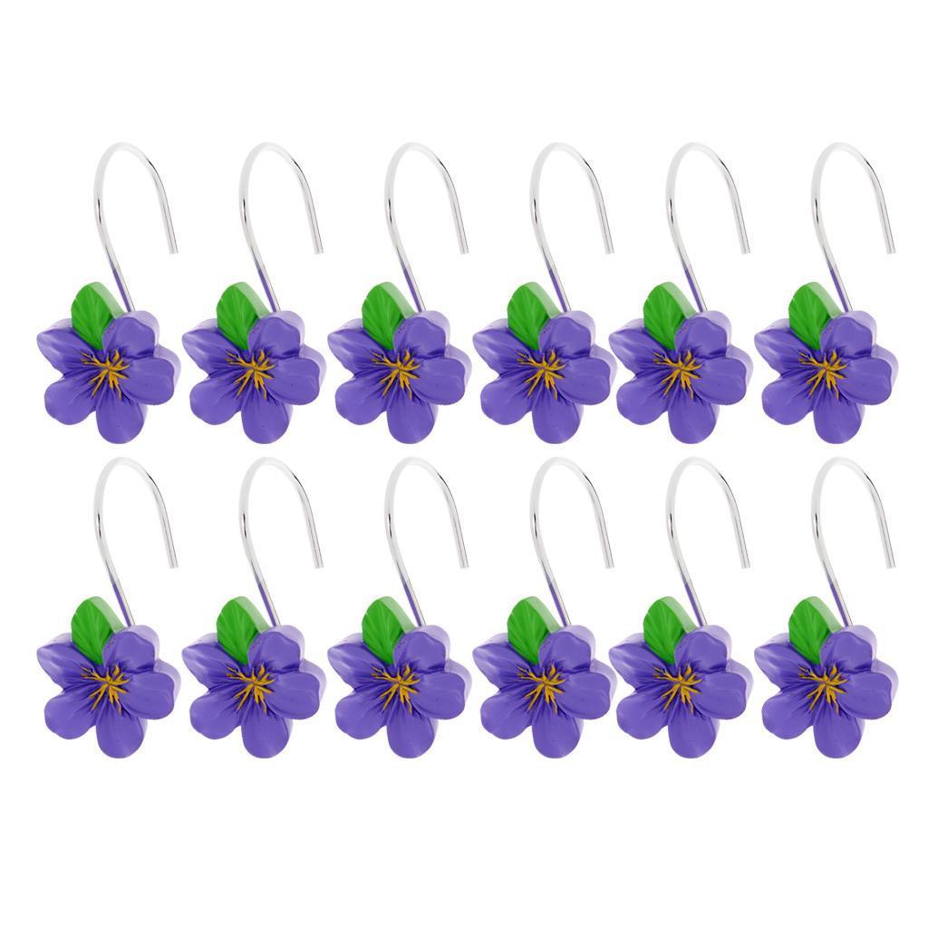12-Pezzi-di-Ganci-Decorativi-Resina-Fiore-Doccia-Tenda-Gancio-Hook-Supporto miniatura 8