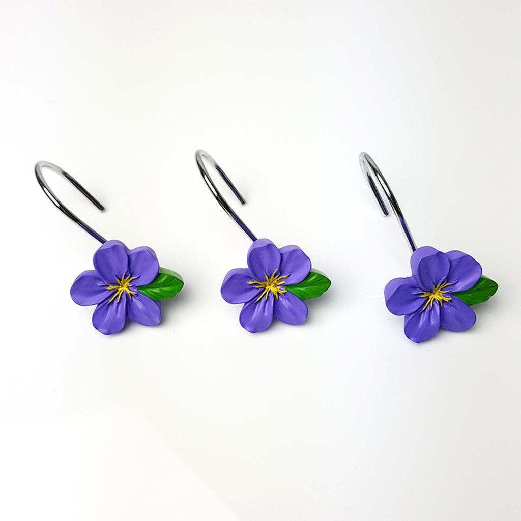 12-Pezzi-di-Ganci-Decorativi-Resina-Fiore-Doccia-Tenda-Gancio-Hook-Supporto miniatura 9
