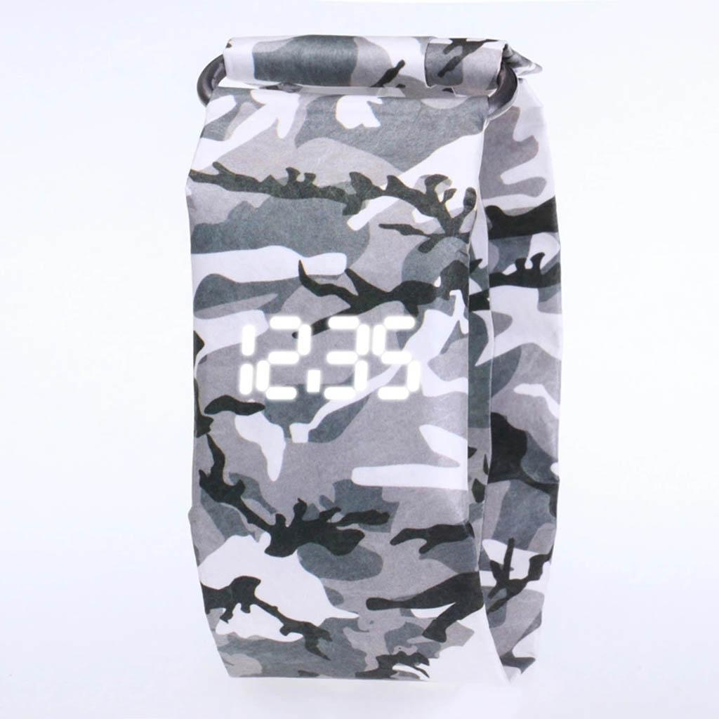 Newspaper-White-LED-Digital-Watch-Mens-Women-Waterproof-Strap-Paper-Sport miniature 55