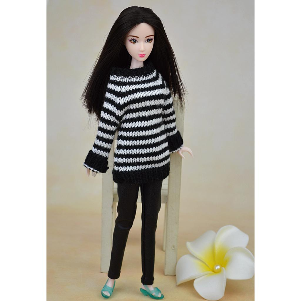 2Pcs Handmade Fashion Girl Doll Wool Sweater Outfits for 12inch Dolls Accs