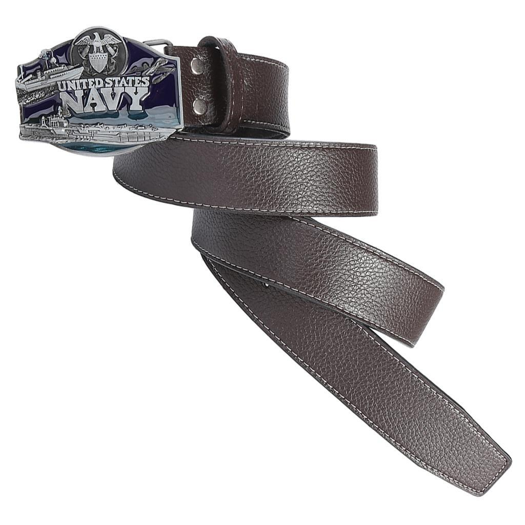 Men-039-s-Leather-Belt-Metal-Buckle-Navy-Pattern-Western-Cowboy-Style-Belt-Strap thumbnail 9