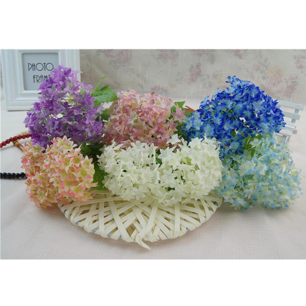 Mini-Bouquet-Artificiel-Faux-Soie-Hortensia-Fleurs-Mariage-Anniversaire miniature 14