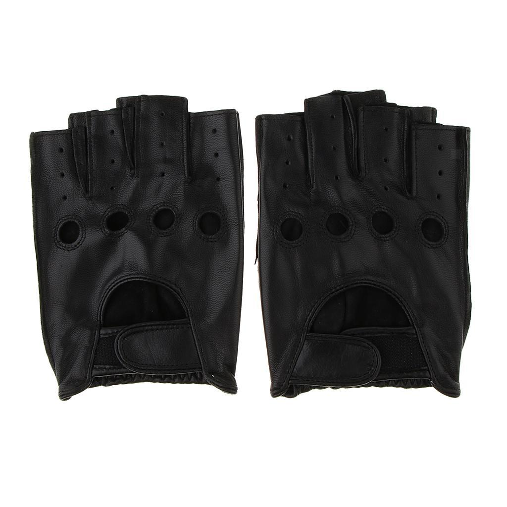 198a7c19b8fe16 Herren-Damen-Lederhandschuhe-Halbfinger-fingerlose-Handschuhe-Fahrhandschuh  Indexbild 12