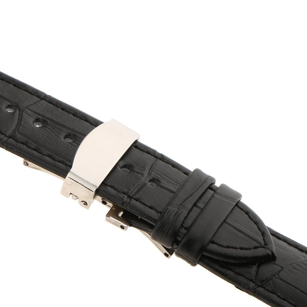 Genuine-Leather-Watch-Strap-Band-18-20-22mm-With-Butterfly-Deployment-Clasp thumbnail 12