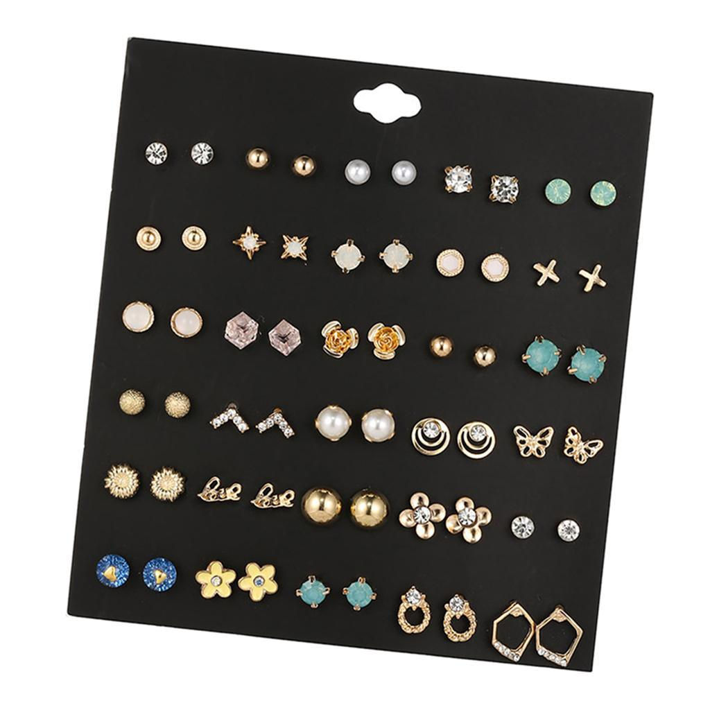 30Pair-Set-Hypoallergenic-Geometric-Crystal-Earrings-Piercing-Stud-Earrings miniature 42