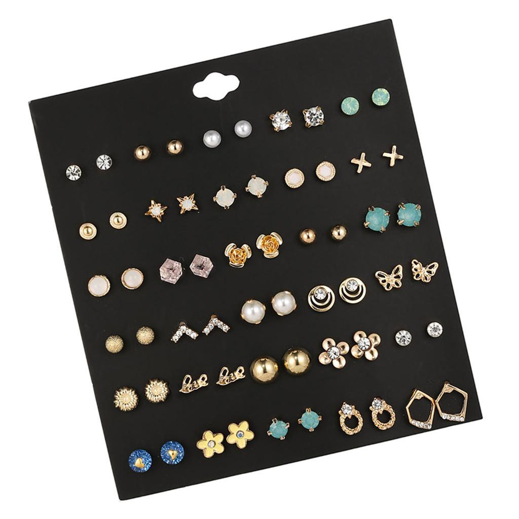 30Pair-Set-Hypoallergenic-Geometric-Crystal-Earrings-Piercing-Stud-Earrings miniature 43