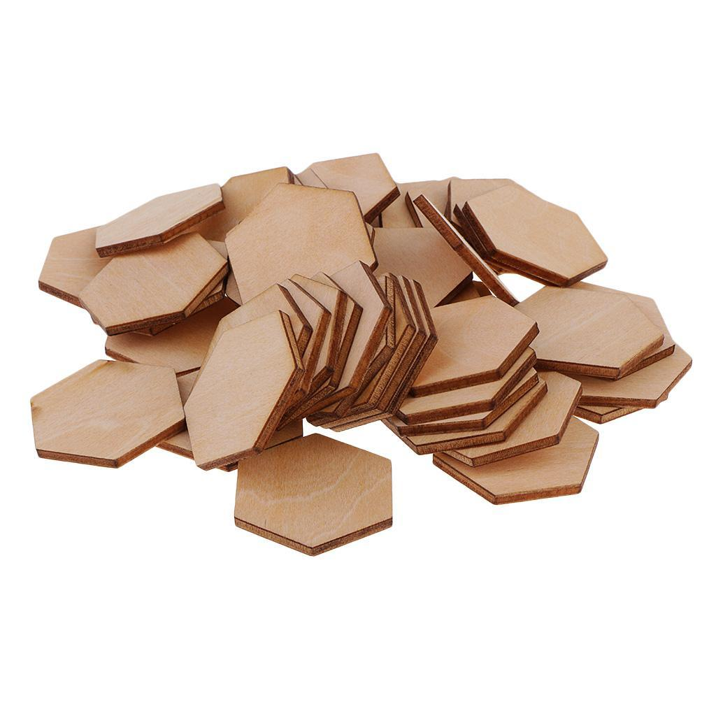 MDF//Wood Hexagon Shapes Wooden Embellishment for Crafting Sewing Decorating