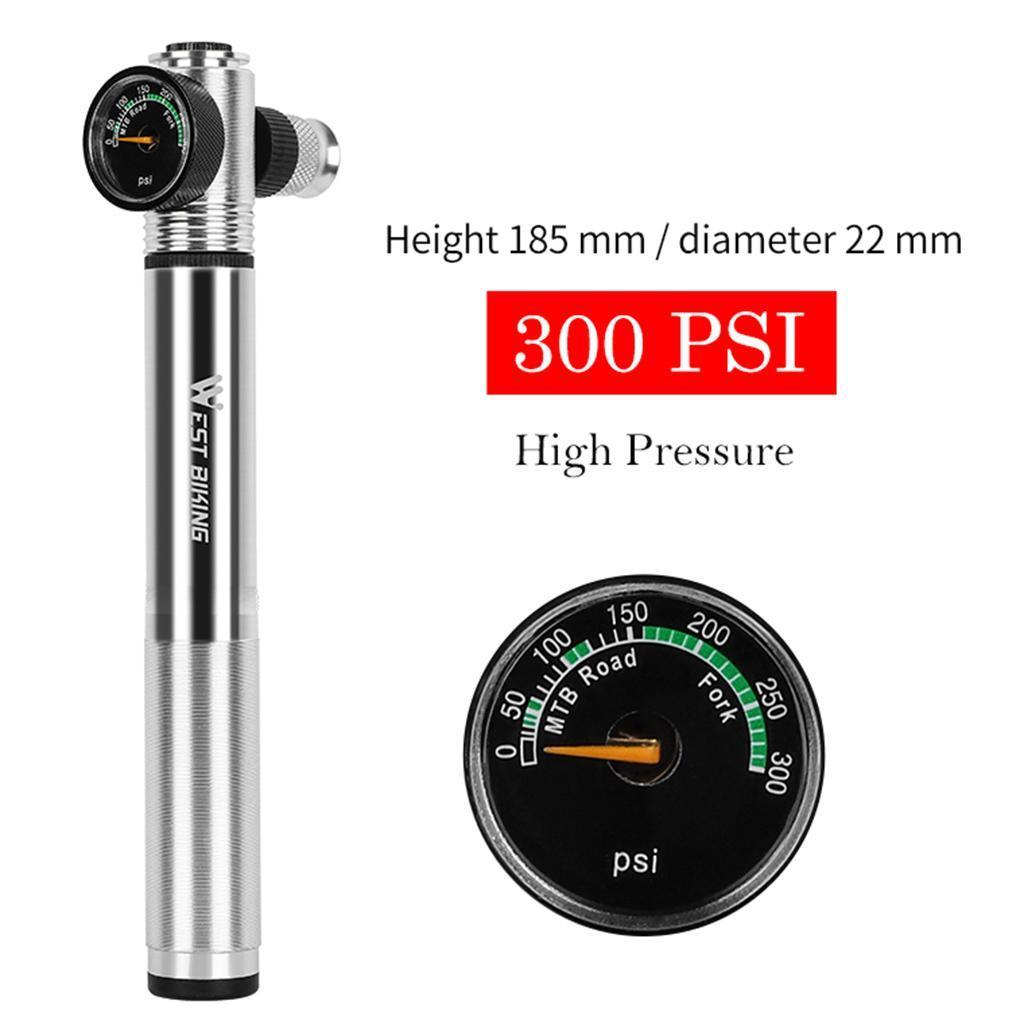 Bicycle Air Pump Tyre Inflator Portable Bike Pump Barometer With Pressure Gauge